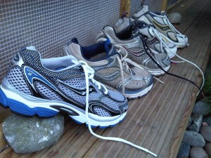 Five generations of Foster's Saucony shoes